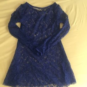 Dresses & Skirts - Dark blue lace over dress 12-14 years old